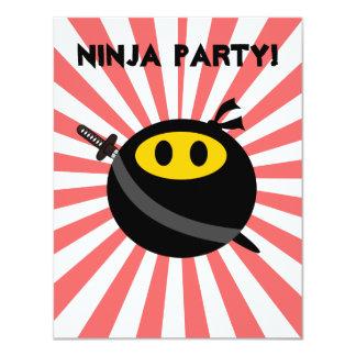 Visage de smiley de Ninja Carton D'invitation 10,79 Cm X 13,97 Cm