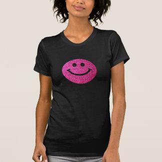 Visage de smiley de scintillement de faux de roses t-shirt