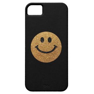 Visage de smiley de scintillement de faux d'or coque Case-Mate iPhone 5