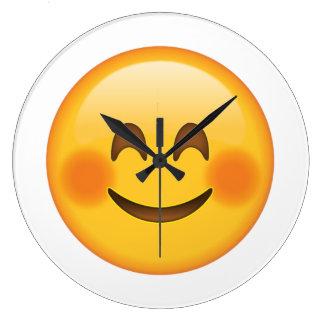 Visage de sourire avec les joues rougies - Emoji Grande Horloge Ronde