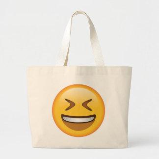 Visage de sourire avec les yeux étroitement fermés grand tote bag