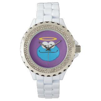 Visage de sourire de biscuit avec le halo montre