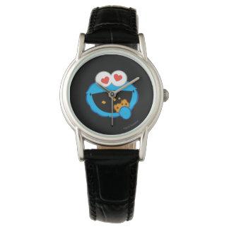 Visage de sourire de biscuit avec les yeux en montres bracelet