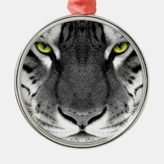 Visage de tigre - tigre blanc - tigre de yeux - ornement rond argenté