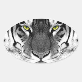 Visage de tigre - tigre blanc - tigre de yeux - sticker ovale