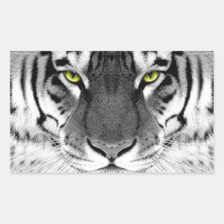 Visage de tigre - tigre blanc - tigre de yeux - sticker rectangulaire