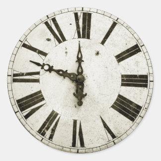 Visage d'horloge sticker rond