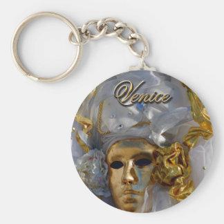 Visage d'or porte-clé rond