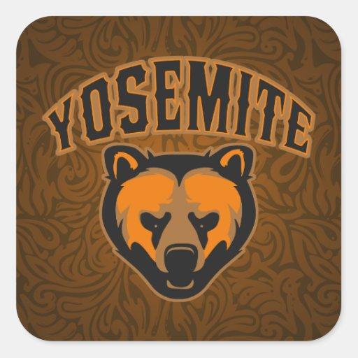 Visage d'ours de Yosemite Stickers Carrés