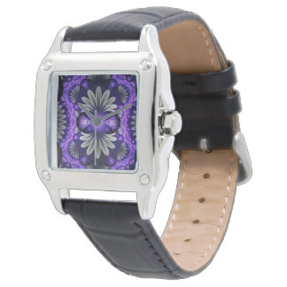 Visage en cuir noir carré de fractale de la montre