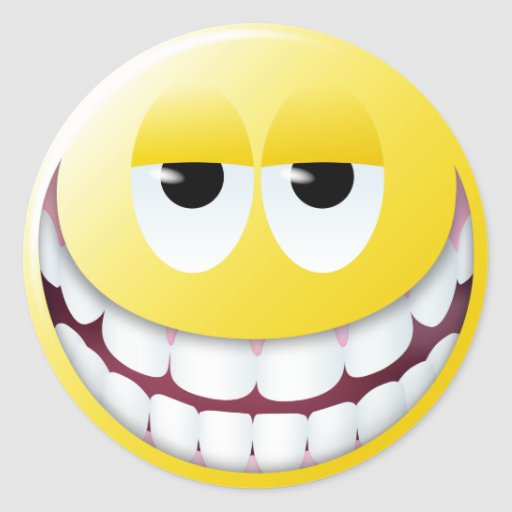 Visage énorme de smiley de sourire autocollants ronds