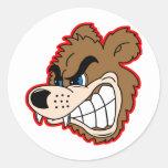 visage fâché d'ours de grognement adhésif rond