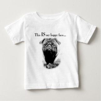 Visage heureux de carlin t-shirt pour bébé