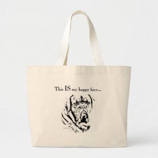 Visage heureux de Dogue Grand Tote Bag