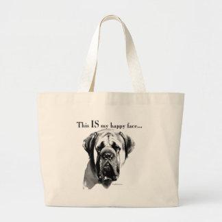 Visage heureux de mastiff grand tote bag