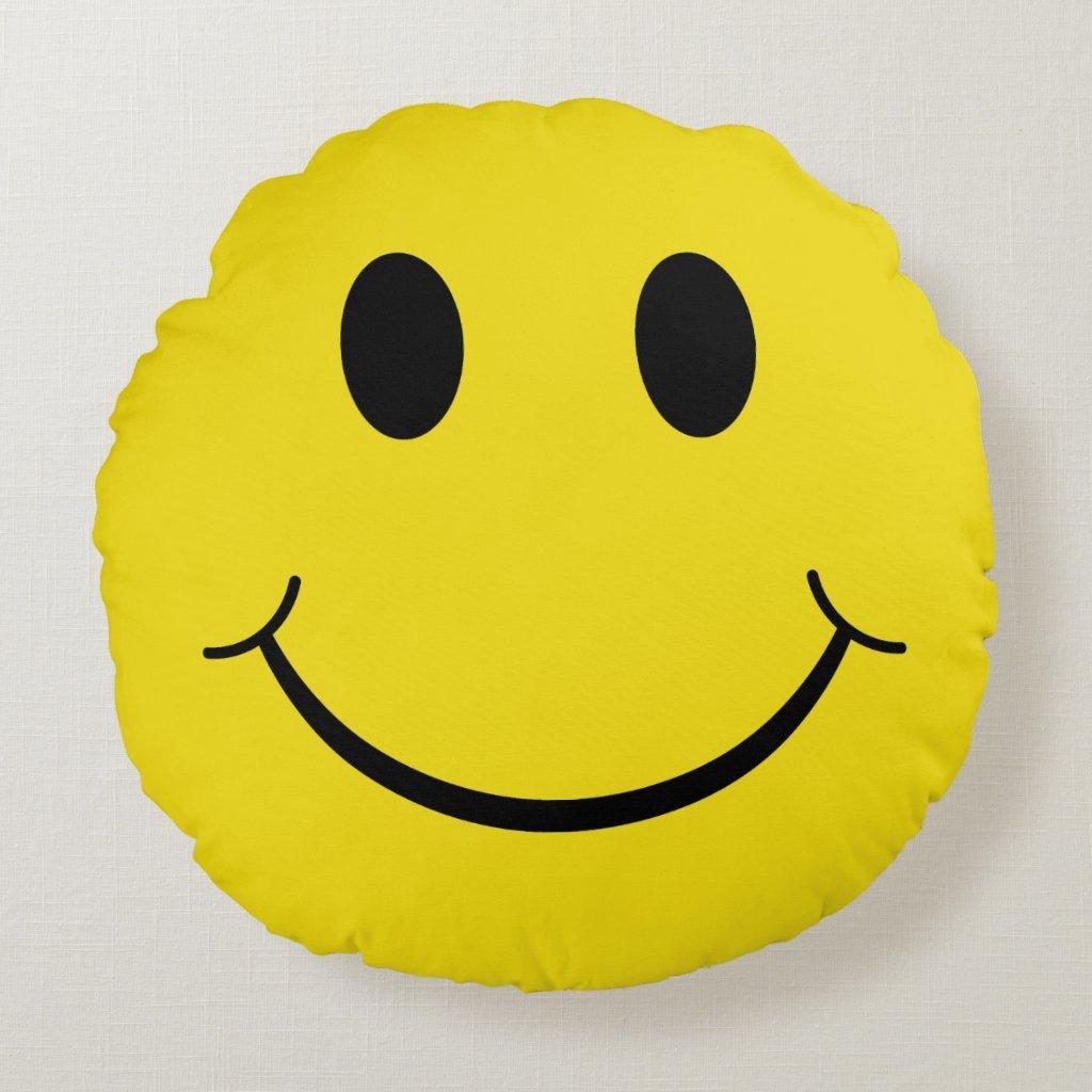 Coussin décoratif rond Smiley