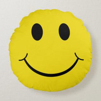 Visage heureux souriant jaune des années 70 coussins ronds