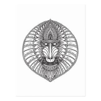 Visage inspiré de babouin carte postale