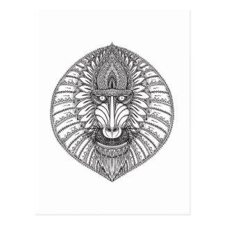 Visage inspiré de babouin cartes postales