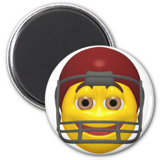 Visage jaune de smiley du football magnet rond 8 cm