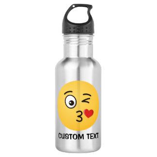 Visage jetant un baiser bouteille d'eau en acier inoxydable