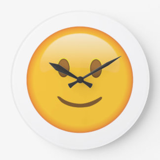 Visage légèrement de sourire - Emoji Grande Horloge Ronde