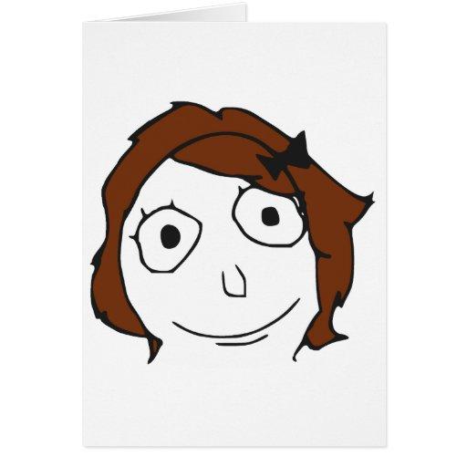 Visage Meme de rage de cheveux de Derpina Brown Carte De Vœux
