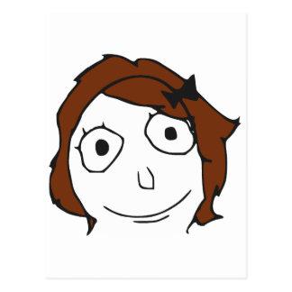 Visage Meme de rage de cheveux de Derpina Brown Carte Postale