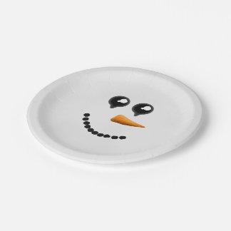 Visage mignon de bonhomme de neige d'hiver assiettes en papier