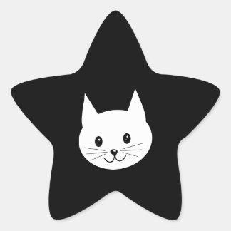 Visage mignon de chat sticker en étoile