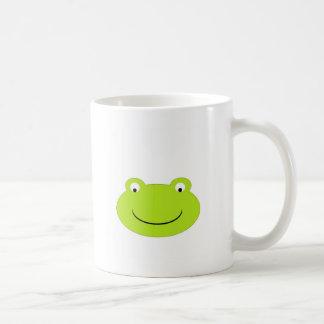 Visage mignon de grenouille verte mugs à café