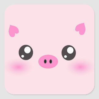 Visage mignon de porc - minimalisme de kawaii autocollants carrés