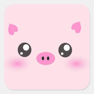 Visage mignon de porc - minimalisme de kawaii sticker carré