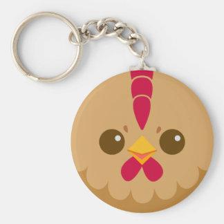 Visage mignon de poule/poulet porte-clé rond