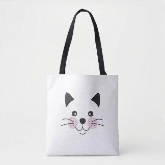 Visage mignon et souriant de chat sac