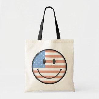 Visage patriotique de smiley de drapeau des Etats- Sac De Toile