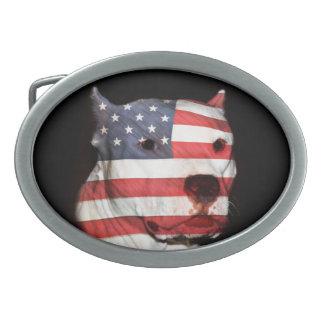 Visage patriotique de terrier de pitbull boucles de ceinture ovales