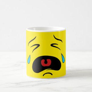 Visage pleurant triste superbe Emoji Mug Blanc
