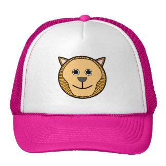 Visage rond mignon de lion de bande dessinée casquettes de camionneur