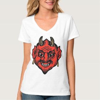 Visage rouge à cornes de diable de Satan T-shirt