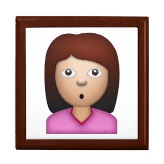 Visage se demandant de femme - Emoji Grande Boîte À Bijoux Carrée
