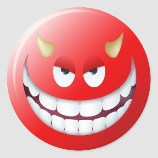 Visage souriant 2 de diable sticker rond