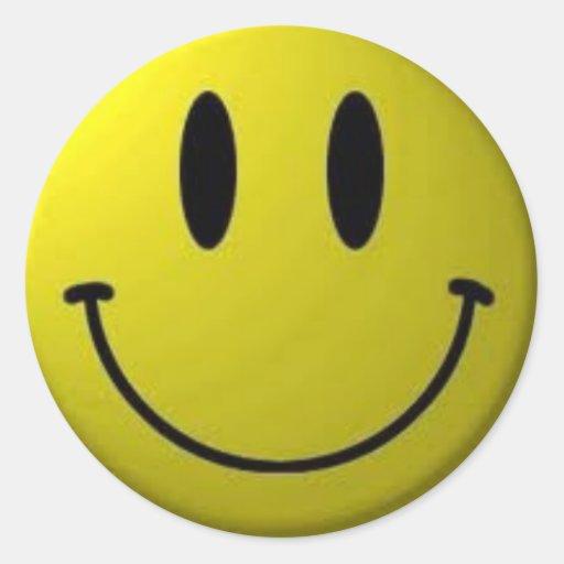 Visage souriant adhésif rond