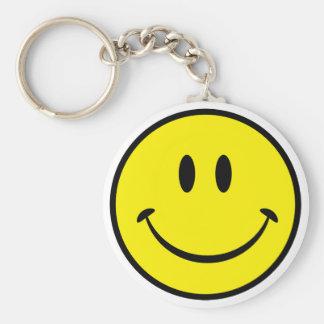 Visage souriant de bonheur porte-clé rond