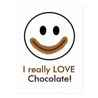 """Visage souriant de chocolat """"j'AIME vraiment le Carte Postale"""