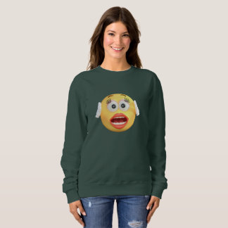 Visage souriant drôle d'Emoji idiot pour des Sweatshirt
