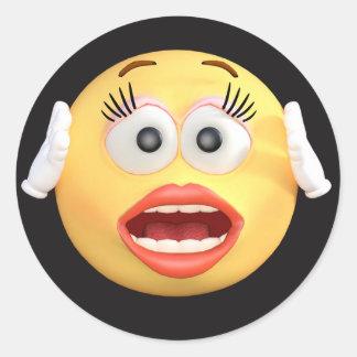 Visage souriant Emoji avec le visage étonné Sticker Rond