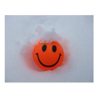 Visage souriant en cadeau de neige carte postale