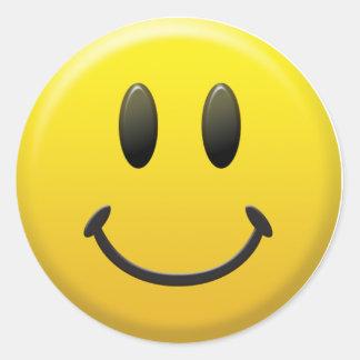 Visage souriant heureux adhésifs ronds