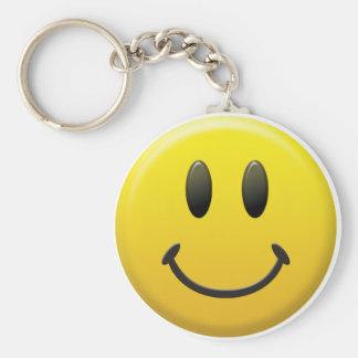 Visage souriant heureux porte-clé rond